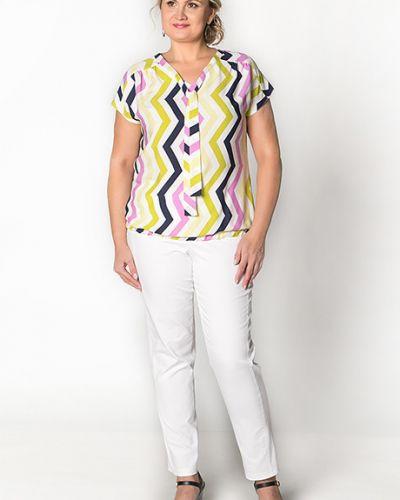 Блузка с коротким рукавом в полоску зеленый Virgi Style