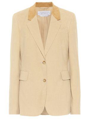 Ватный бежевый кожаный пиджак Gabriela Hearst