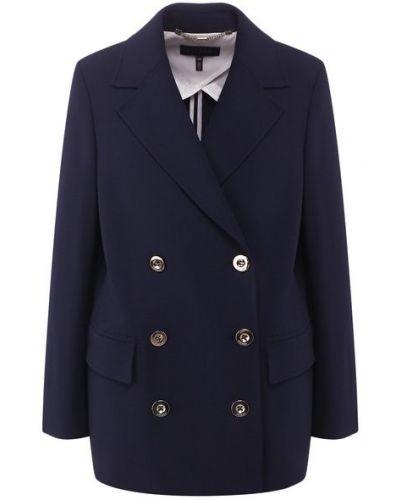 Синий пиджак двубортный с подкладкой Escada