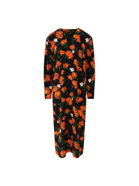Платье с цветочным принтом с V-образным вырезом Escada