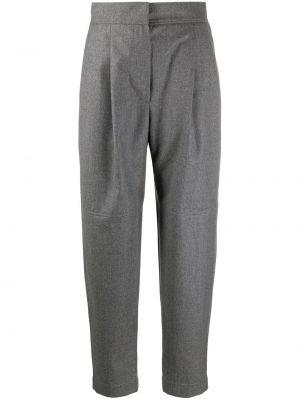 Шерстяные серые укороченные брюки с высокой посадкой с потайной застежкой Brunello Cucinelli