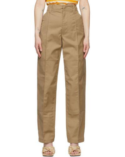 Коричневые кожаные брюки с карманами Acne Studios