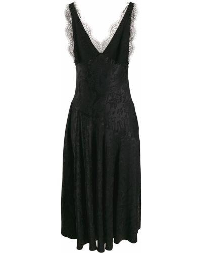 Кружевное черное платье миди с разрезом Alexa Chung