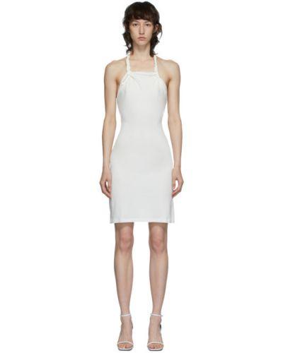 Белое платье мини с открытой спиной с воротником без рукавов Vejas