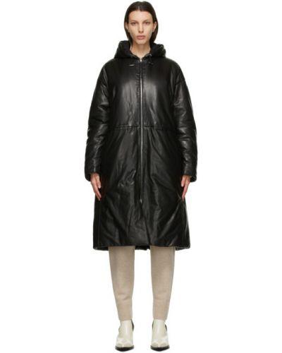 Кожаное черное длинное пальто с капюшоном Joseph