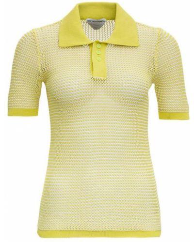 Żółty t-shirt z długimi rękawami w paski Bottega Veneta