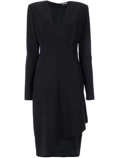 Платье миди с декольте с поясом Tom Ford
