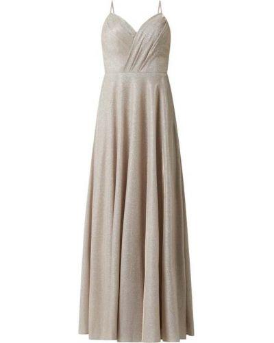 Beżowa sukienka wieczorowa rozkloszowana Laona