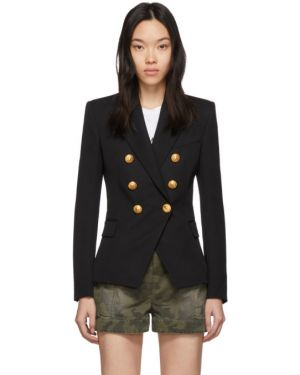 Классический пиджак черный в полоску Balmain