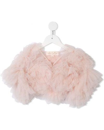 Нейлоновая с рукавами розовая куртка с V-образным вырезом Tutu Du Monde