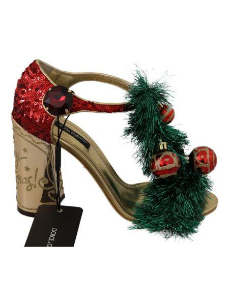 Czerwone złote sandały Dolce And Gabbana
