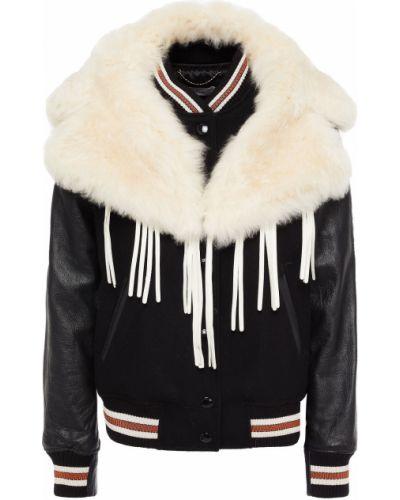 Кожаная куртка с воротником - черная Coach