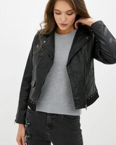 Кожаная куртка черная осенняя Naf Naf