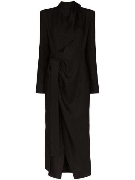 Приталенное платье миди с запахом с длинными рукавами с драпировкой Aleksandre Akhalkatsishvili