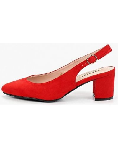 Туфли на каблуке с открытой пяткой красные Clowse