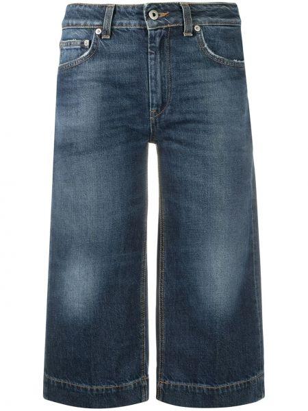 Хлопковые синие укороченные джинсы с карманами Dondup
