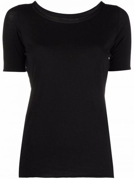 Хлопковая черная футболка с короткими рукавами Uma Wang
