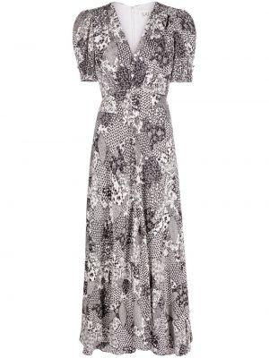 Шелковое белое платье миди с короткими рукавами Saloni