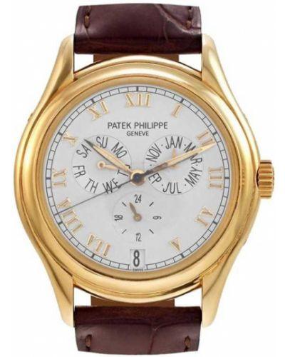 Кожаные с ремешком часы круглые Patek Philippe