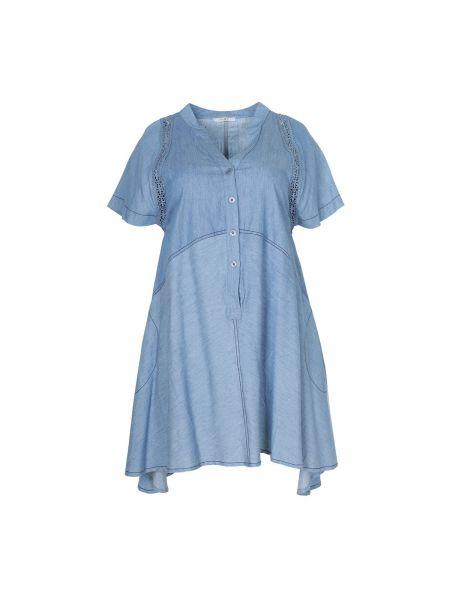 Вязаное платье мини на пуговицах со вставками с V-образным вырезом Mat Fashion