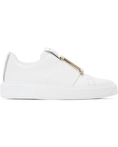 Białe sneakersy skorzane na obcasie Balmain