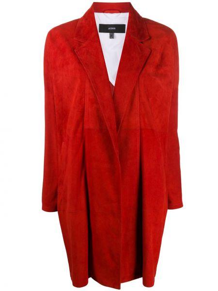 Красное кожаное длинное пальто с капюшоном Arma