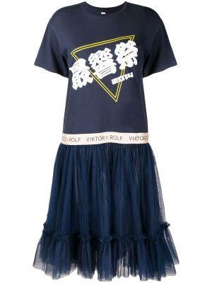 Платье мини из фатина со вставками с вырезом с короткими рукавами Viktor & Rolf