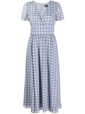 Серое шифоновое платье миди в клетку Emporio Armani