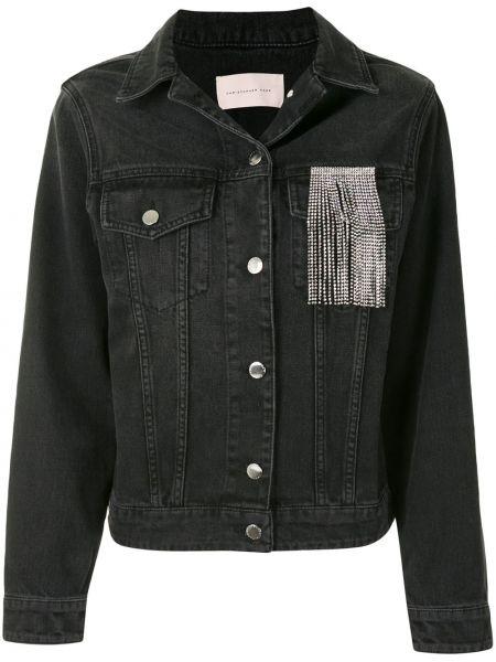 Bawełna czarny jeansy frędzlami z kieszeniami Christopher Kane