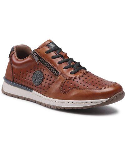 Buty sportowe skorzane - brązowe Rieker