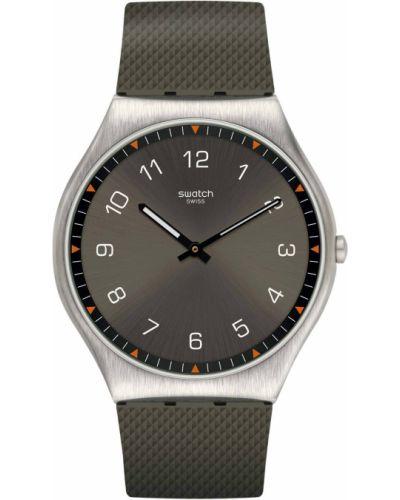 Зеленые со стрелками часы водонепроницаемые Swatch