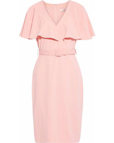 Розовое платье с поясом на крючках Badgley Mischka