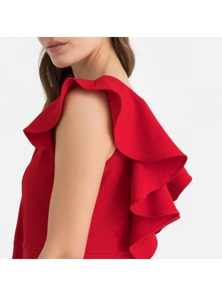 Красное расклешенное платье мини с оборками без рукавов Molly Bracken