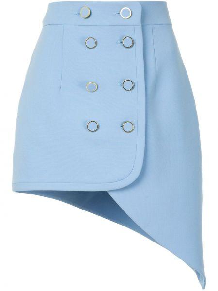Облегающая синяя юбка двубортная на пуговицах George Keburia