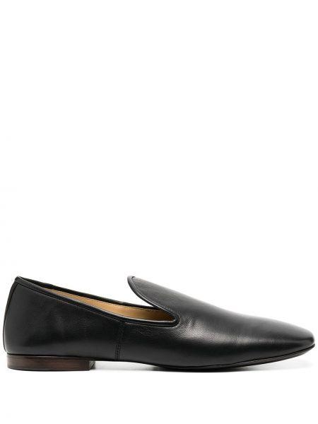 Skórzany czarny loafers na pięcie plac Lemaire