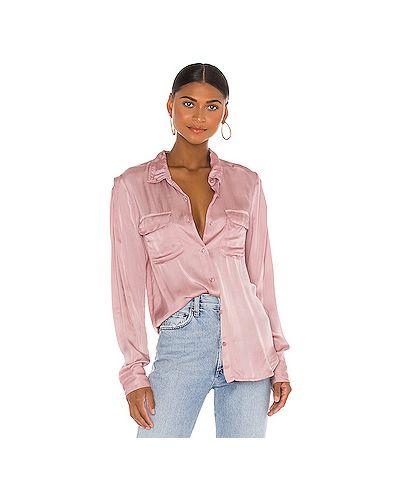 Сатиновый розовый топ на пуговицах с карманами Young Fabulous & Broke