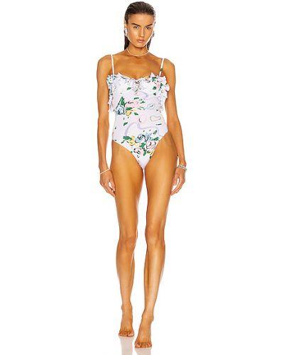 Белый слитный купальник с чашками с подкладкой Alessandra Rich