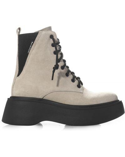 Замшевые ботинки - бежевые Barbilioni