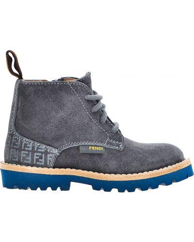 Ботинки замшевые серые Fendi