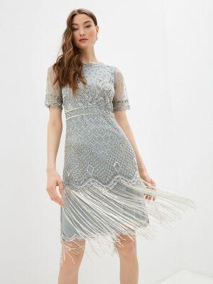 Серое вечернее платье с оборками Frock And Frill