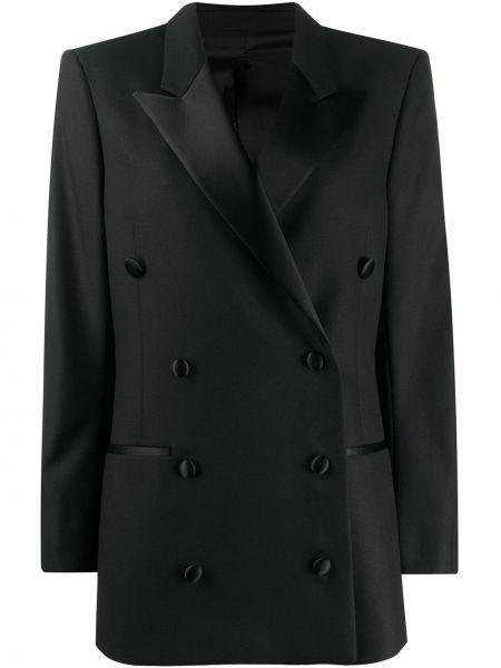 Черный пиджак двубортный с карманами Toteme