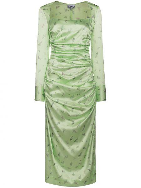 Платье шелковое зеленый Ganni