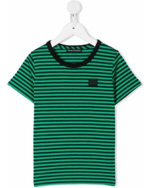 Zielony t-shirt w paski bawełniany Acne Studios Kids