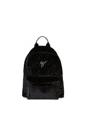 Brokatowy plecak - czarny Giuseppe Zanotti