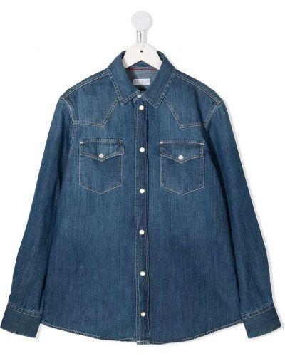 Синяя с рукавами джинсовая рубашка с воротником Brunello Cucinelli Kids