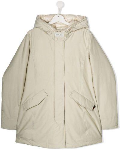 Płaszcz z kapturem wełniany z kieszeniami Woolrich Kids