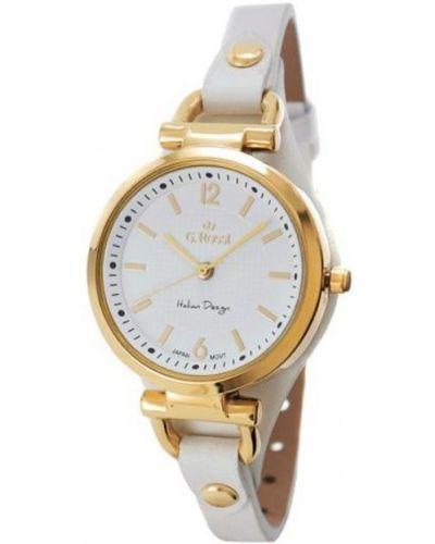 Biały zegarek na skórzanym pasku skórzany Gino Rossi