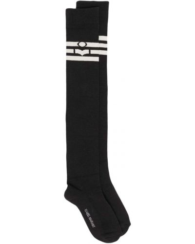 Хлопковые черные носки высокие с нашивками Isabel Marant