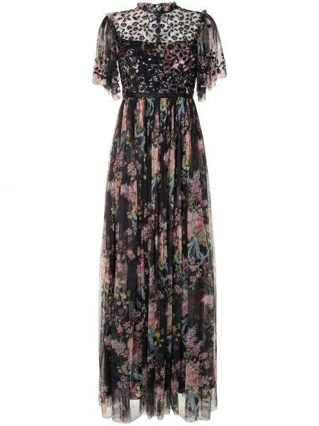 Расклешенное платье макси с пайетками с воротником на молнии Needle & Thread