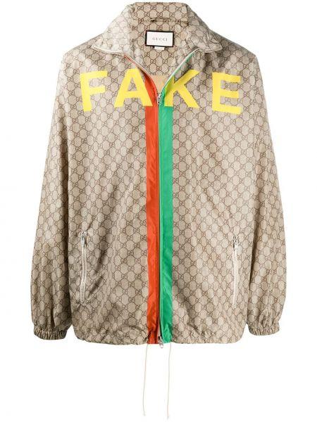 Brązowy kurtka z kapturem z kieszeniami z długimi rękawami z płótna Gucci